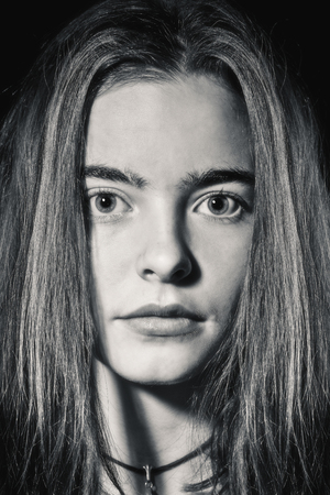 blackwhite: close up portrait of a beautiful woman Stock Photo