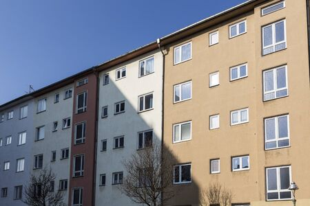 thrifty: facade of social housing in Berlin Kreuzberg Stock Photo