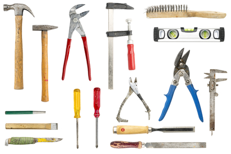 collection of old tools, isolated on white