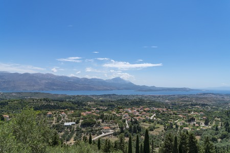 mediterranean landscape with mountains and ocean, Kefalonia Greece