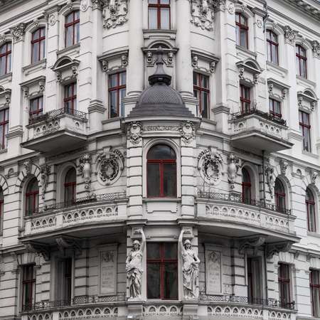 close up of a facade with rich stucco Stock Photo