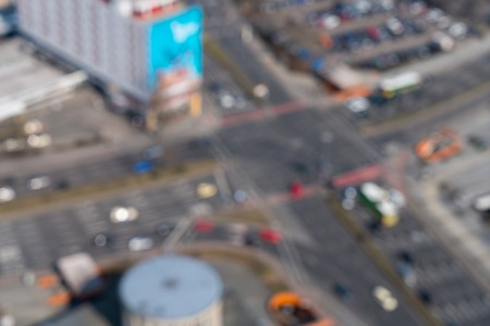 aerial view of a blurred crossroad for backgrounds