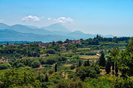 mediterranean landscape with village, Kefalonia Greece Stock Photo