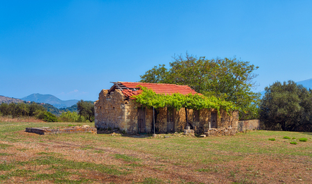 abandoned old farmer cottage in Greece Stock Photo