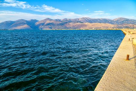 the harbor of Lixouri on Kefalonia Greece