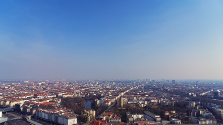 aerial view panorama of Berlin with blue sky