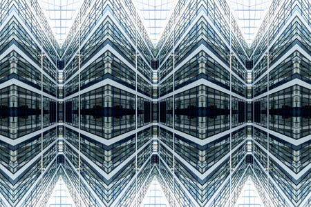 symmetry architectural pattern of a glassy facade