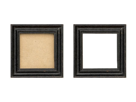 set of two old black wood picture frames with passepartout, isolated on white