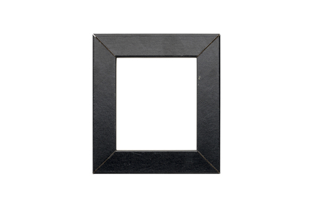 old black wood picture frame, isolated on white Standard-Bild