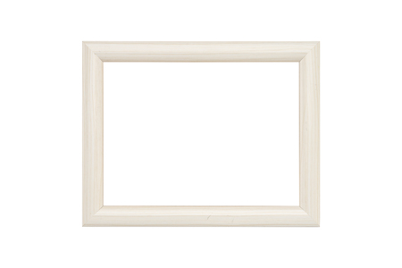 withe wood picture frame, isolated on white