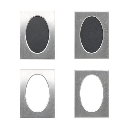 set of old oval silver picture frames, isolated on white Standard-Bild