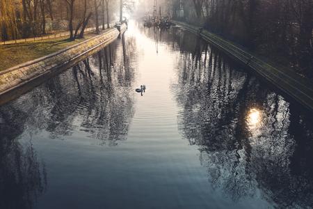 Canal in Berlin Kreuzberg, morning impression with to swans Reklamní fotografie - 124625360