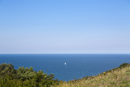 small sailboat on the baltic sea, HIddensee Island Germany Imagens