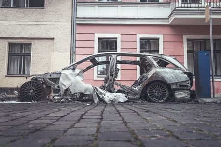 Burned out cars in the streets of Berlin Фото со стока
