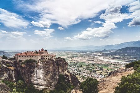 Meteora, Monastery of St. Stephen and the great landscape of the valley behind 版權商用圖片 - 130814061