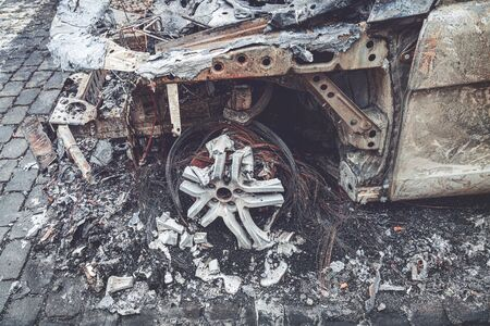 Detail of a completely burned out car, Berlin Germany
