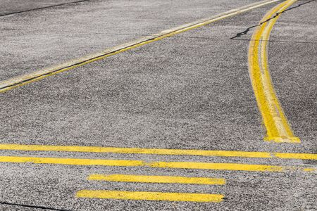 road marking and signs on an old airstrip Stockfoto
