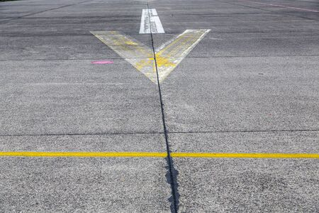 road marking and signs on an old airstrip 写真素材