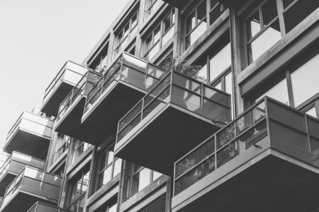 some balconies of a house in black and white 写真素材