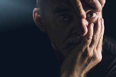 portrait of a man who emphasizes an eye with his hands Stok Fotoğraf