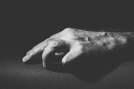 black white recording of a relaxed hand Banco de Imagens