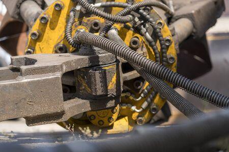close-up view of the hydraulic hoses of a machine Banco de Imagens