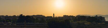 panorama, sunset over Corfu town