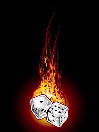 Dice on fire