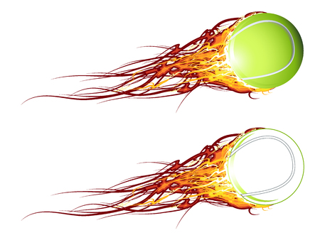 Tennis ball on fire Illustration