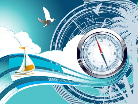 Compass - summer illustration Illustration