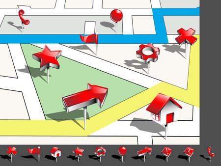Icônes de navigation avec carte