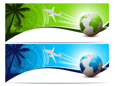 paradise beach: Travel and holiday banners Illustration