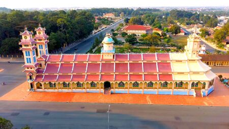 An aerian view of the Cao Dai temple in Vietnam