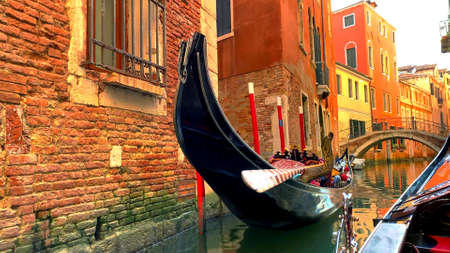 A photo of a traditional gondola in Venice in Italy