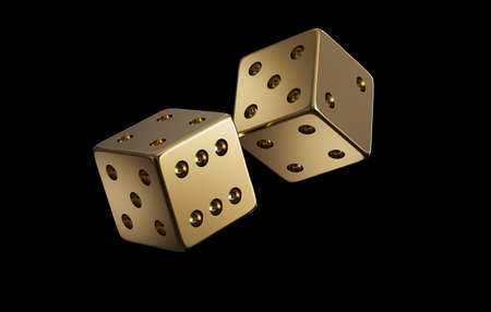 Dices made of gold are flying in the air on a black background. Luxury item. Realistic 3D rendering. CGI Illustration 免版税图像