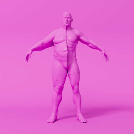 Stylized human body shows weight and fat loss process, dieting, exercise, be fit using exercise and gym. Sugar addiction