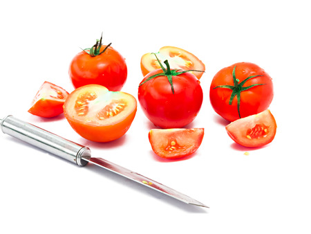 knife tomato: group of tomatoes and knife isolated on white background Stock Photo