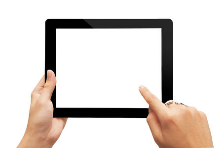 blank tablet: hand holding digital tablet isolated on white