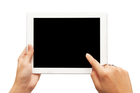 hand holding digital tablet isolated on white