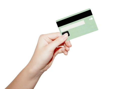 Carte de crédit à main tenant des affaires féminines Banque d'images - 35009883