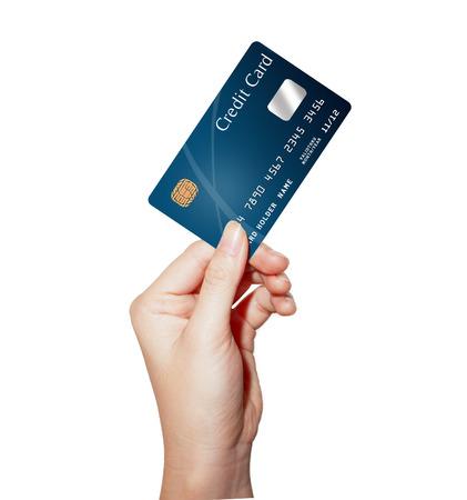 クレジット カードを持っている女性のビジネス手
