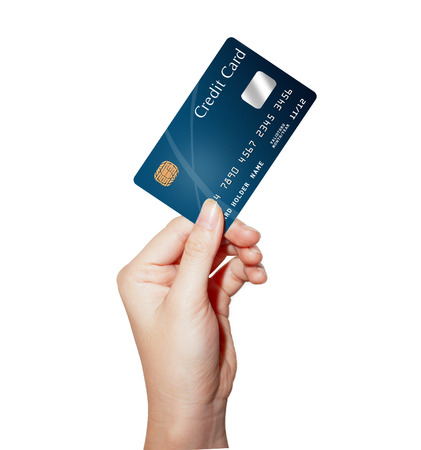 carte de crédit de tenir la main de femmes d'affaires