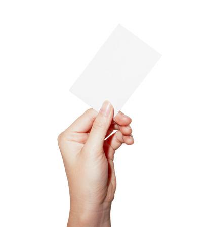 La prise de main de carte de visite