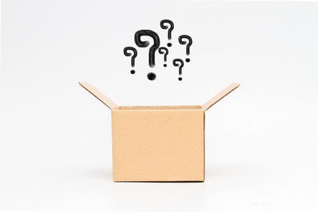 newest: question mark in an open box - Isolated