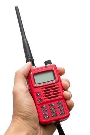 walkie talkie: Red Walkie Talkie Handheld isolated on white Stock Photo