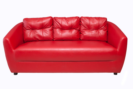 Red sofa isoalted on white backgraound