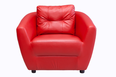 backgraound: Red sofa isoalted on white backgraound