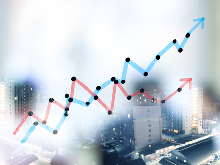 Double expose of growth bar chart with blurred business people background photo