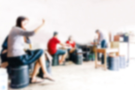 sitting people: blurred background of sitting people in coffee cafe