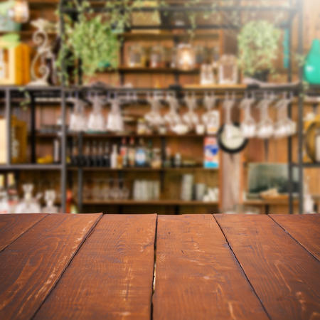 bar counters: Empty table and blurred kitchen background, product display